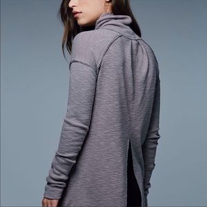 FREE PEOPLE mock neck open back slit back sweater